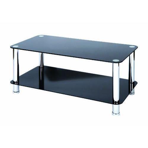 Levv table basse en verre et pieds chrom s noir achat for Table basse en verre noir