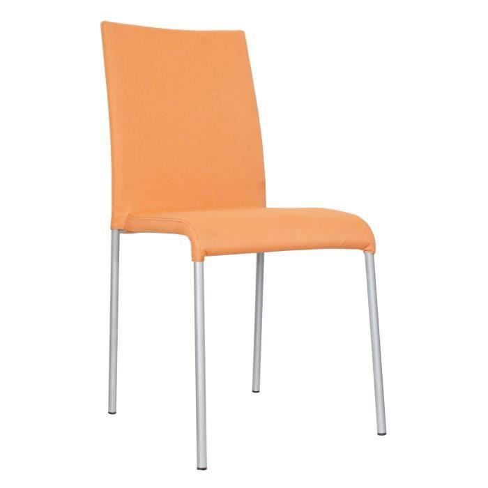 Chaise design m tal tissu orange lot de 6 krissy for Lot de 6 chaises design