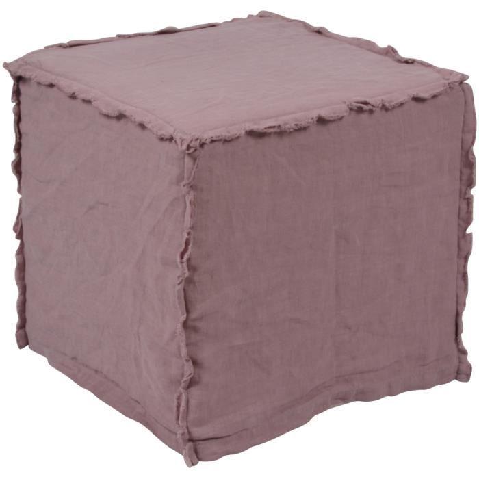 Housse de pouf en lin lav aubergine 35x35x35cm achat - Housse de chaise en lin ...