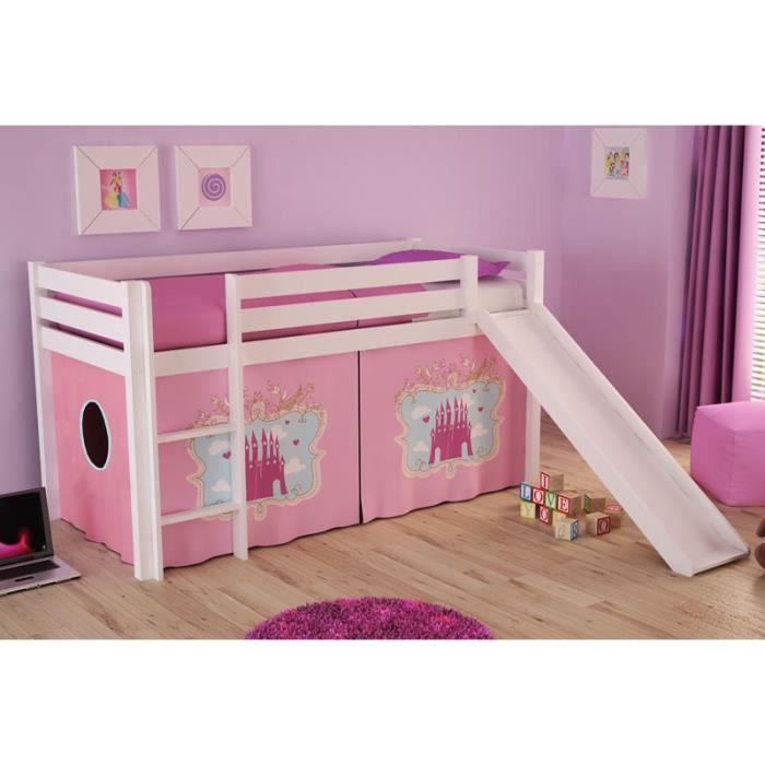 paris prix lit enfant avec toboggan pino ch teau blanc achat vente lit combine cdiscount. Black Bedroom Furniture Sets. Home Design Ideas