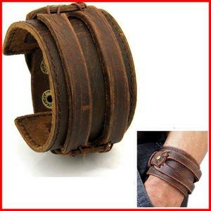 BRACELET , GOURMETTE Bracelet Cuir HOMME FORCE Manchette MARRON Antique
