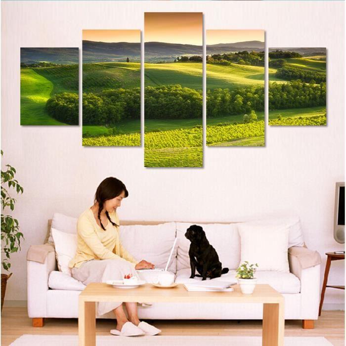 maison decoration accessoires  panneau peinture sur toile vert foret image art f auc