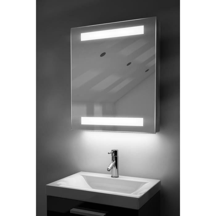 miroir de salle de bain avec capteur et prise rasoir interne k127w blanc taille l 750mm x l. Black Bedroom Furniture Sets. Home Design Ideas