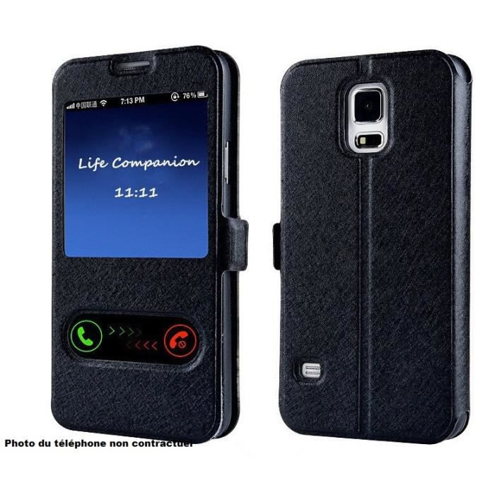 Tui housse noir iphone 6 flip cover s view luxe achat for Housse iphone 6 luxe
