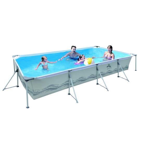 Piscine rectangulaire avec structure grise 300x207x70cm for Achat piscine rectangulaire