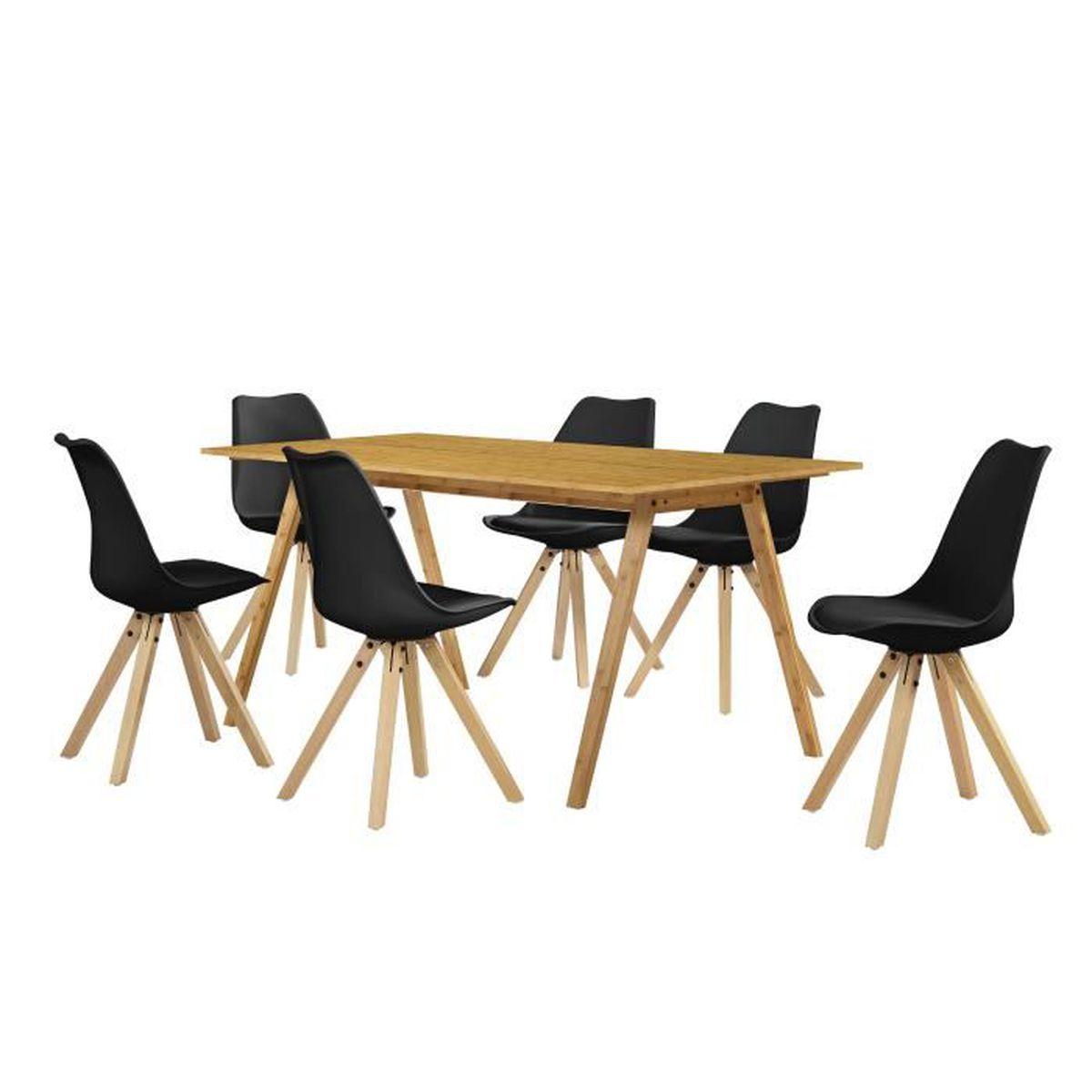 Table manger avec 6 chaises noir 180x80 for Table avec 6 chaises