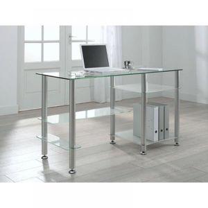 Bureau design en verre transparent desk xxl achat - Bureau design verre metal ...