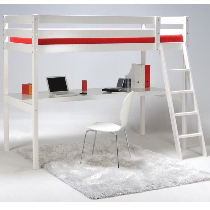 aspen lit 90x190cm mezzanine avec bureau blanc achat vente lit combine aspen lit 90x190cm. Black Bedroom Furniture Sets. Home Design Ideas