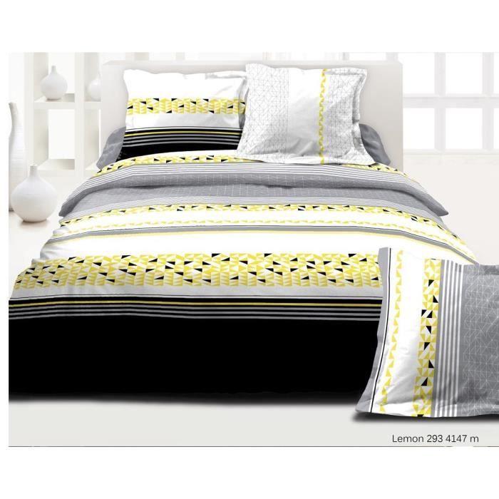 Housse de couette 100 pur coton lemon 220cm x 240cm qualit superieur acha - Couette de qualite superieure ...