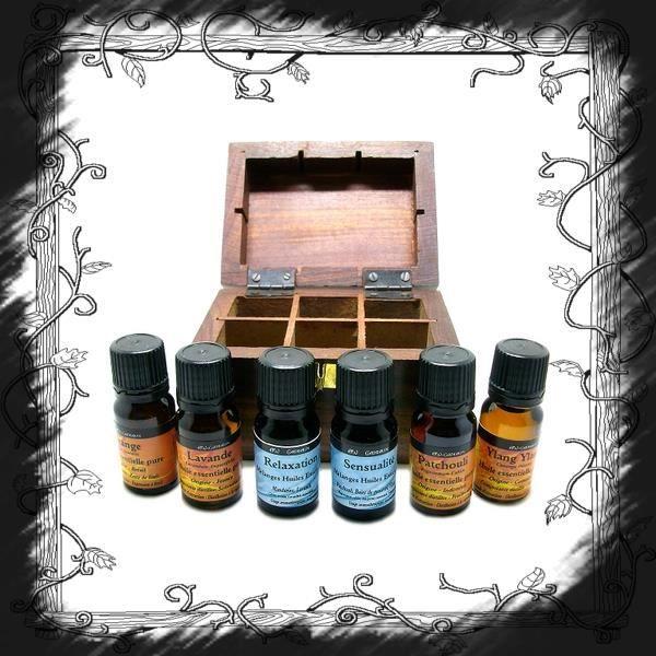 coffret bois 6 huiles essentielles pures achat vente huile essentielle coffret bois 6. Black Bedroom Furniture Sets. Home Design Ideas