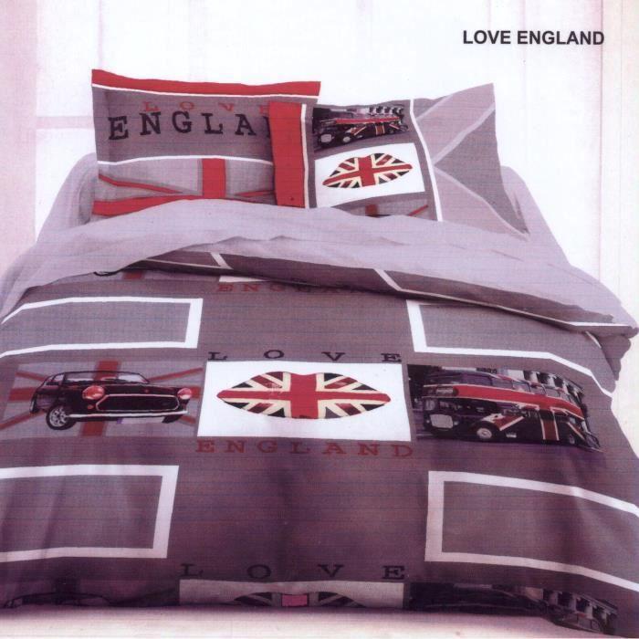 Housse de couette 240x220cm flanelle love england 2 - Destockage housse de couette ...