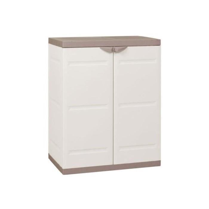 Armoire de rangement basse 2 portes blanc et beige achat vente armoire de - Cdiscount armoire de rangement ...