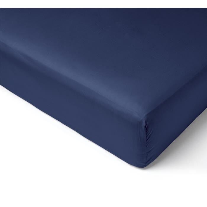 drap housse satin uni bleu marine collection salom prestige 180x200 achat vente drap housse. Black Bedroom Furniture Sets. Home Design Ideas