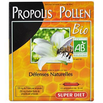 superdiet propolis pollen bio 10 ampoules de 15ml achat vente soin vitalit superdiet. Black Bedroom Furniture Sets. Home Design Ideas