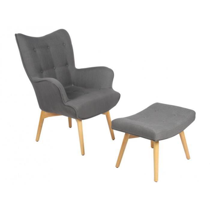fauteuil avec repose pieds esben en tissu gris achat. Black Bedroom Furniture Sets. Home Design Ideas