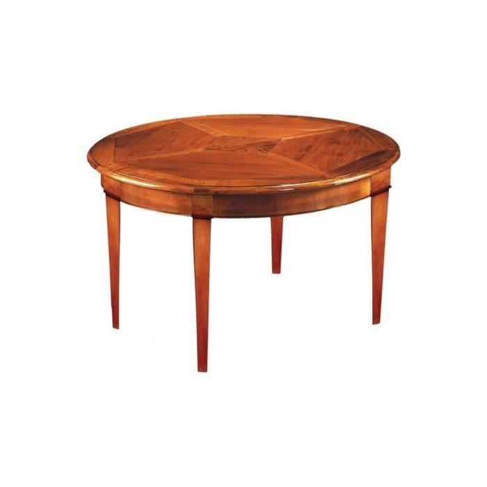 Table ronde merisier massif pieds fuseaux 4 allonges 120cm for Table 4 pieds