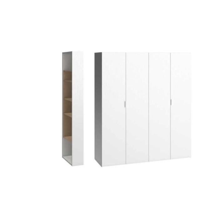 Armoire dressing 4 portes 260 4 you avec colonne de for Armoire dressing 4 portes