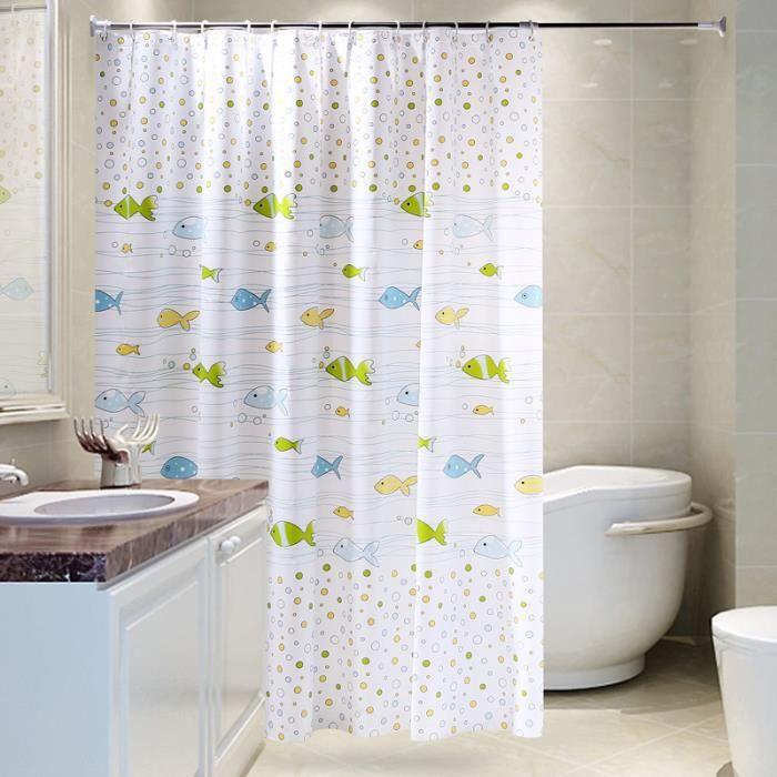 rideau de douche galet imperm able rideau de salle de bain etanche avec des anneaux crochets 240. Black Bedroom Furniture Sets. Home Design Ideas