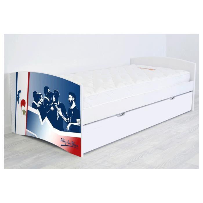 Abc meubles banquette lit gigogne happy 90 x 190cm bleu blanc rouge 90 - Structure lit gigogne ...