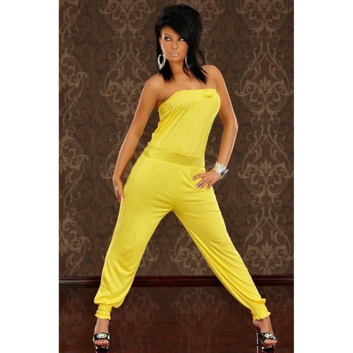 combinaison pantalon jaune style bustier jaune achat vente combinaison 2009970261808. Black Bedroom Furniture Sets. Home Design Ideas