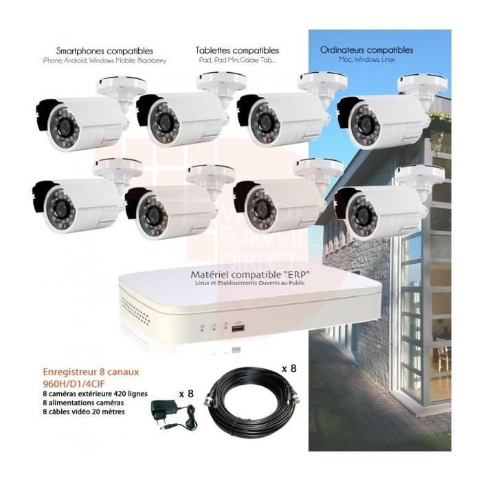 systeme video surveillance full 960h avec 8 cam achat. Black Bedroom Furniture Sets. Home Design Ideas