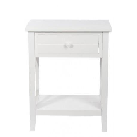 table de nuit 1 tiroir croix bois blanc 50x35x63 j line achat vente chevet table de nuit 1. Black Bedroom Furniture Sets. Home Design Ideas