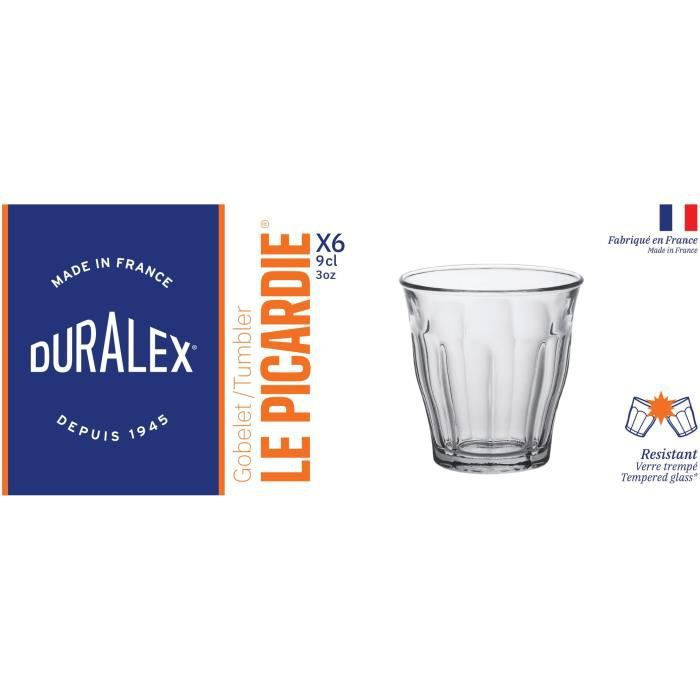 duralex bo te 6 gobelets picardie 9 cl transparent achat vente verre cocktail cdiscount. Black Bedroom Furniture Sets. Home Design Ideas