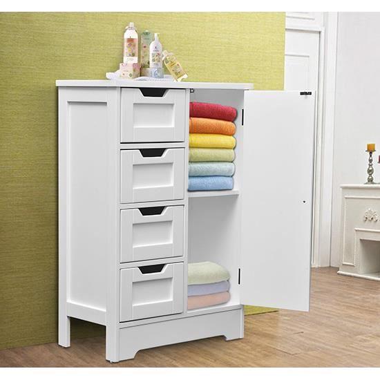 Armoire de rangement mdf blanc neuf 33 achat vente commode de chambre arm - Cdiscount armoire de rangement ...