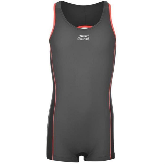 maillot de bain combinaison sport fille slazeng gris gris noir et rouge achat vente. Black Bedroom Furniture Sets. Home Design Ideas