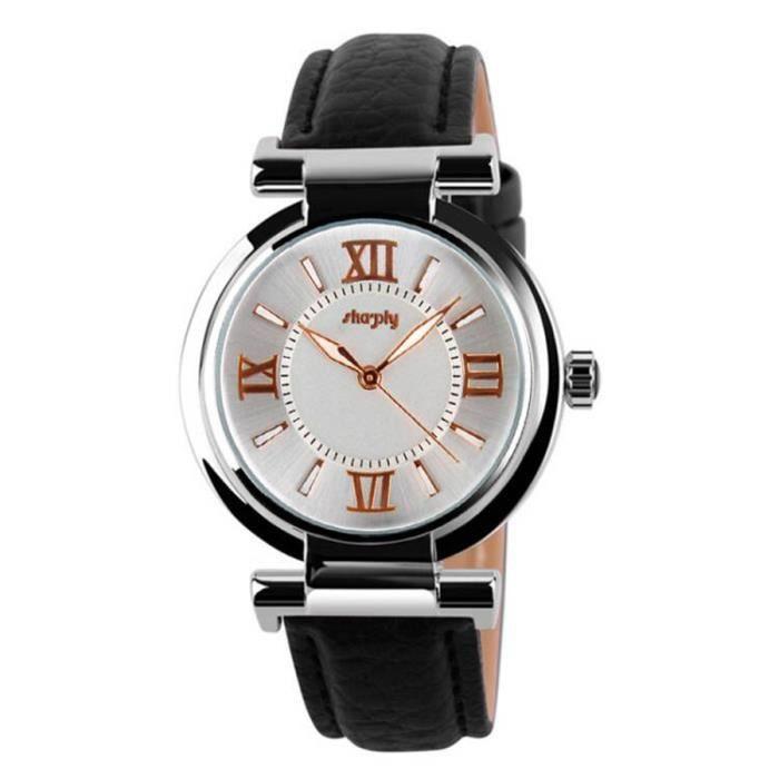 sharphy mode montre luxe femme de marque tanche chiffres romains quartz bracelet en cuir noir. Black Bedroom Furniture Sets. Home Design Ideas