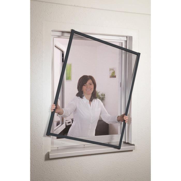 Moustiquaire fen tre cadre fixe l110xh130cm gris achat for Fenetre 85 x 130