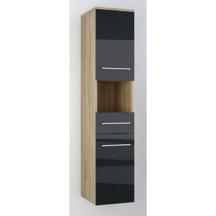 justhome lupo armoire murale suspendue de salle de bain sonoma noir 30 x 140 x 32 achat. Black Bedroom Furniture Sets. Home Design Ideas