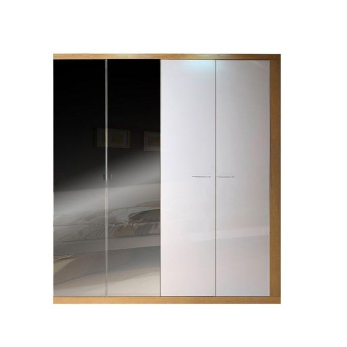 Woodao lit 160 t ti re bois 2 chevets armoire achat - Ensemble lit armoire ...