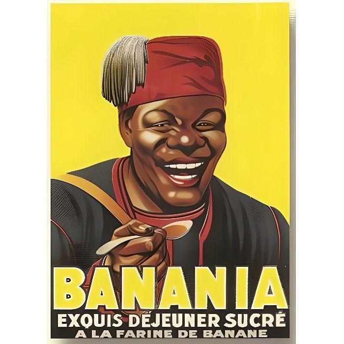 plaque metal 20x15cm chocolat banania j 39 adore 2 achat vente tableau toile m tal les. Black Bedroom Furniture Sets. Home Design Ideas