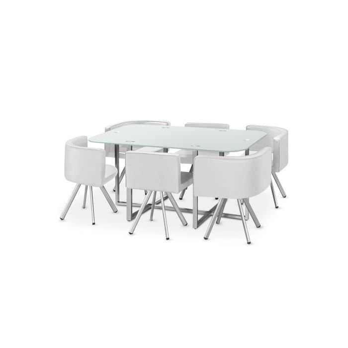 table manger verre 6 chaises blanc corner xl achat vente table a manger complet table. Black Bedroom Furniture Sets. Home Design Ideas