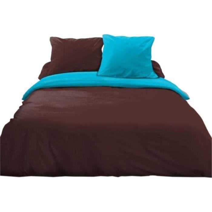 parure de lit 3 pi ces choco turquoise achat vente parure de drap soldes d hiver d s le 6. Black Bedroom Furniture Sets. Home Design Ideas