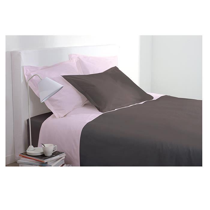drap housse 2 personnes 160x200 cm 100 coton chocolat. Black Bedroom Furniture Sets. Home Design Ideas