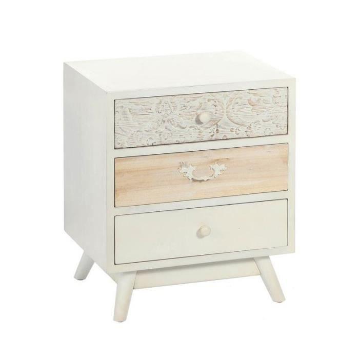 table de chevet c rus blanc 3 tiroirs poudries l 50 x. Black Bedroom Furniture Sets. Home Design Ideas