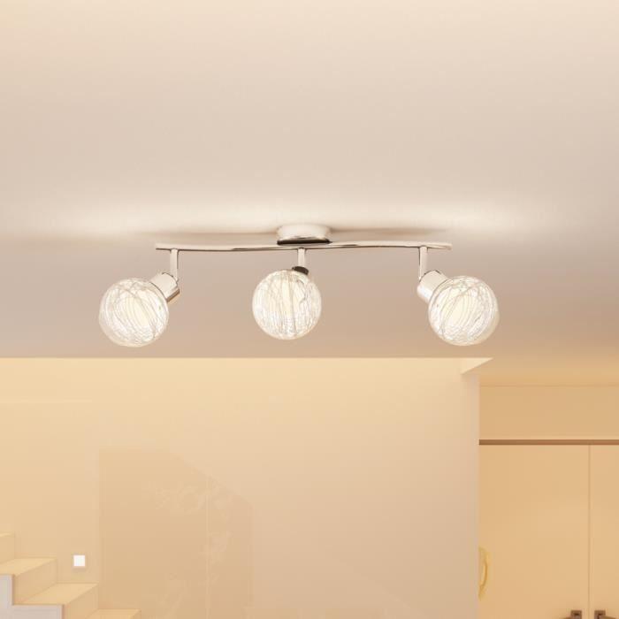 plafonnier avec trois lampes ampoules incluses achat vente plafonnier avec trois lampe fer. Black Bedroom Furniture Sets. Home Design Ideas