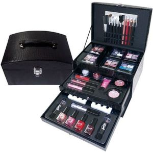 PALETTE DE MAQUILLAGE  Mallette de Maquillage - Croco Noir - 55 Pcs