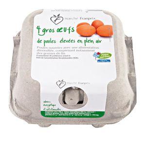 Franprix 4 gros œufs de poule élevés en plein air