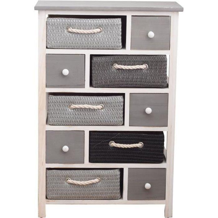 Meuble tiroirs armoire chevet blanc vimini 5 tiroir 5 for Meuble a tiroir chambre