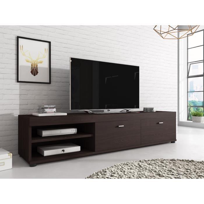 elsa meuble tv contemporain d cor ch ne fonc 140 cm achat vente meuble tv elsa meuble tv. Black Bedroom Furniture Sets. Home Design Ideas
