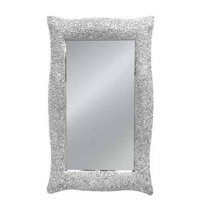 Miroir avec cadre rectangulaire couleur argent style for Miroir rectangulaire argent
