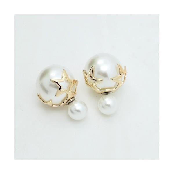 boucles d 39 oreilles double perles toiles dor es achat. Black Bedroom Furniture Sets. Home Design Ideas