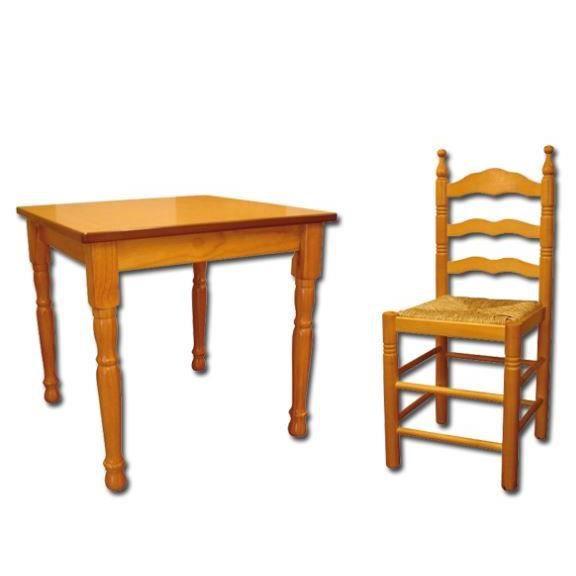 Les 4 chaises table 70x70 cm bois massif achat vente for Meuble 70x70