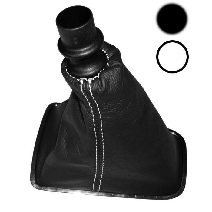 aerzetix soufflet de levier de vitesse en 100 cuir v ritable surpiq res coutures blanches. Black Bedroom Furniture Sets. Home Design Ideas