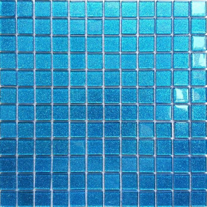 Carrelage mosa que en verre bleu avec des paillettes les for Carrelage bleu