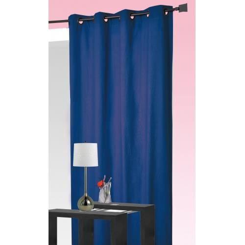 rideau 100 occultant bleu 140x260cm achat vente rideau voilage cdiscount. Black Bedroom Furniture Sets. Home Design Ideas