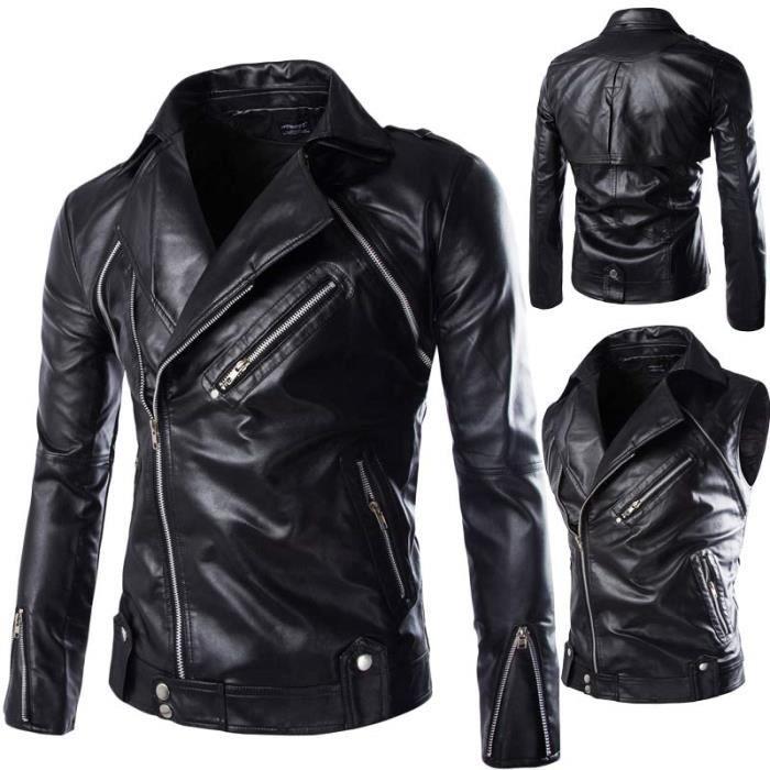 blouson pu cuir homme marque noir faux cuir moto veste. Black Bedroom Furniture Sets. Home Design Ideas